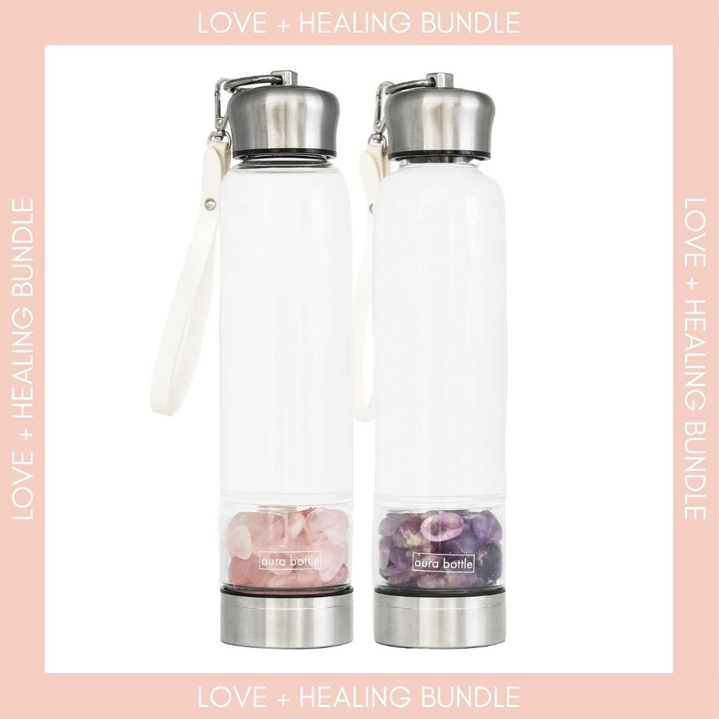 Rose Quartz and Amethyst Crystal Bottle Bundle by Aura Bottle Australia. Benefits include love and healing.