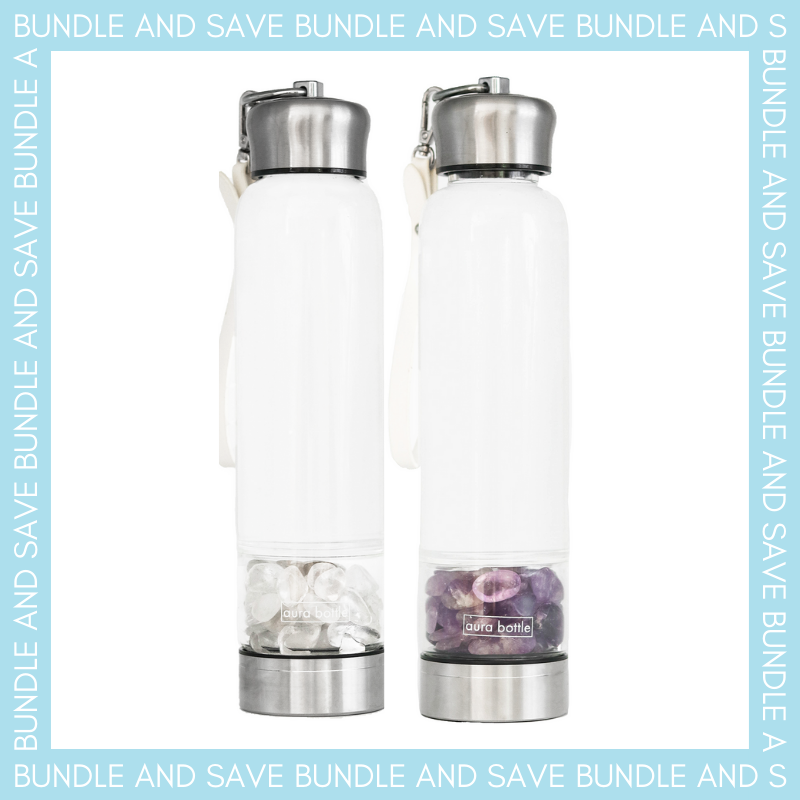 CLEAR QUARTZ & AMETHYST GRATITUDE BUNDLE 450ml | Aura Bottle™ Australia
