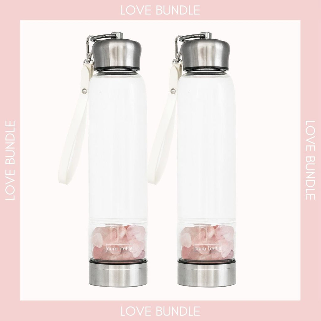 Rose Quartz Crystal bottle 450ml by Aura Bottle Australia. I am known as the stone of the heart. I help you to give and receive love unapologetically by seeking acceptance, kindness and peace within.