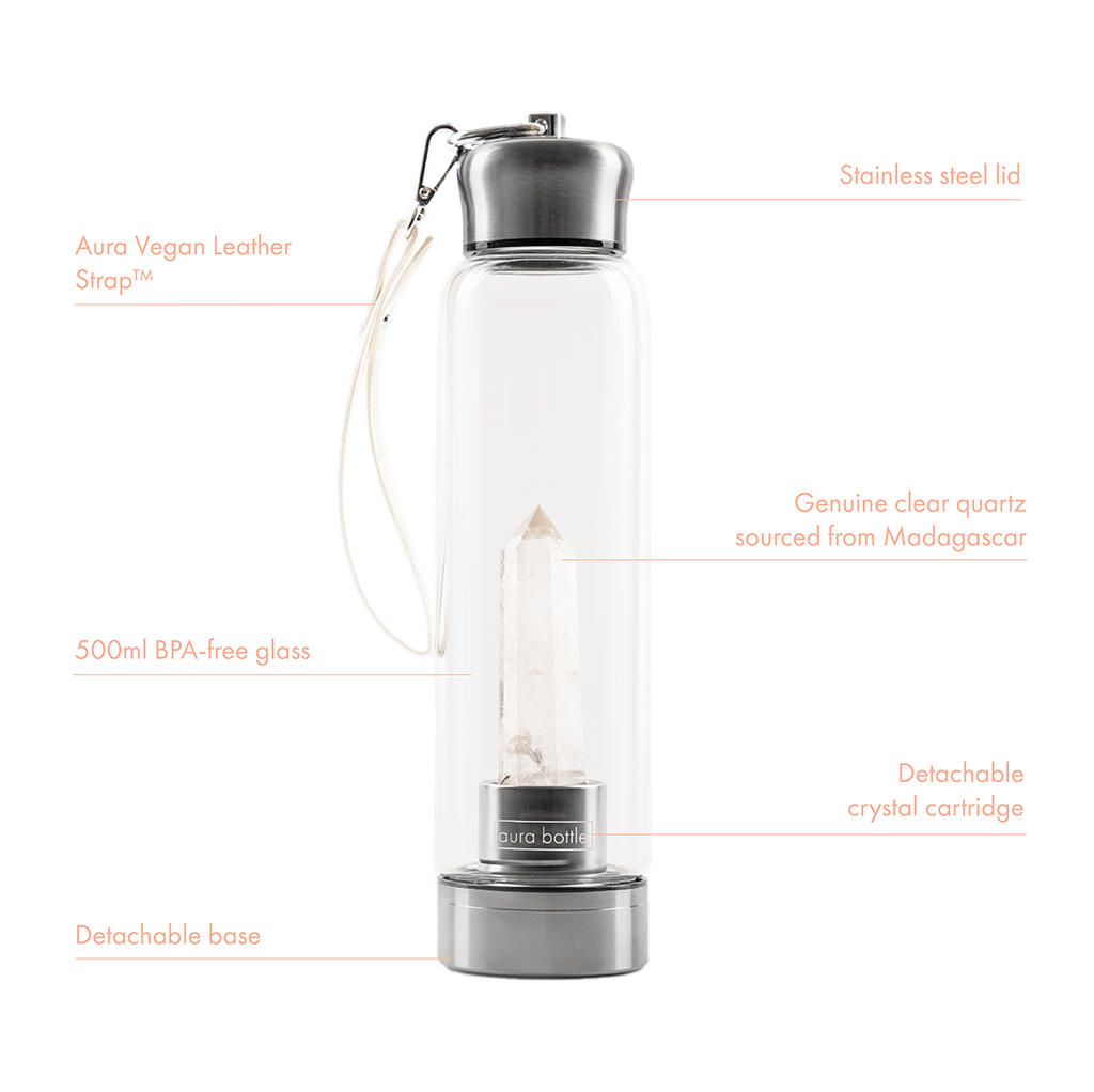 Best clear quartz crystal water bottle in Australia. Featuring a glass crystal elixir bottle with straps.