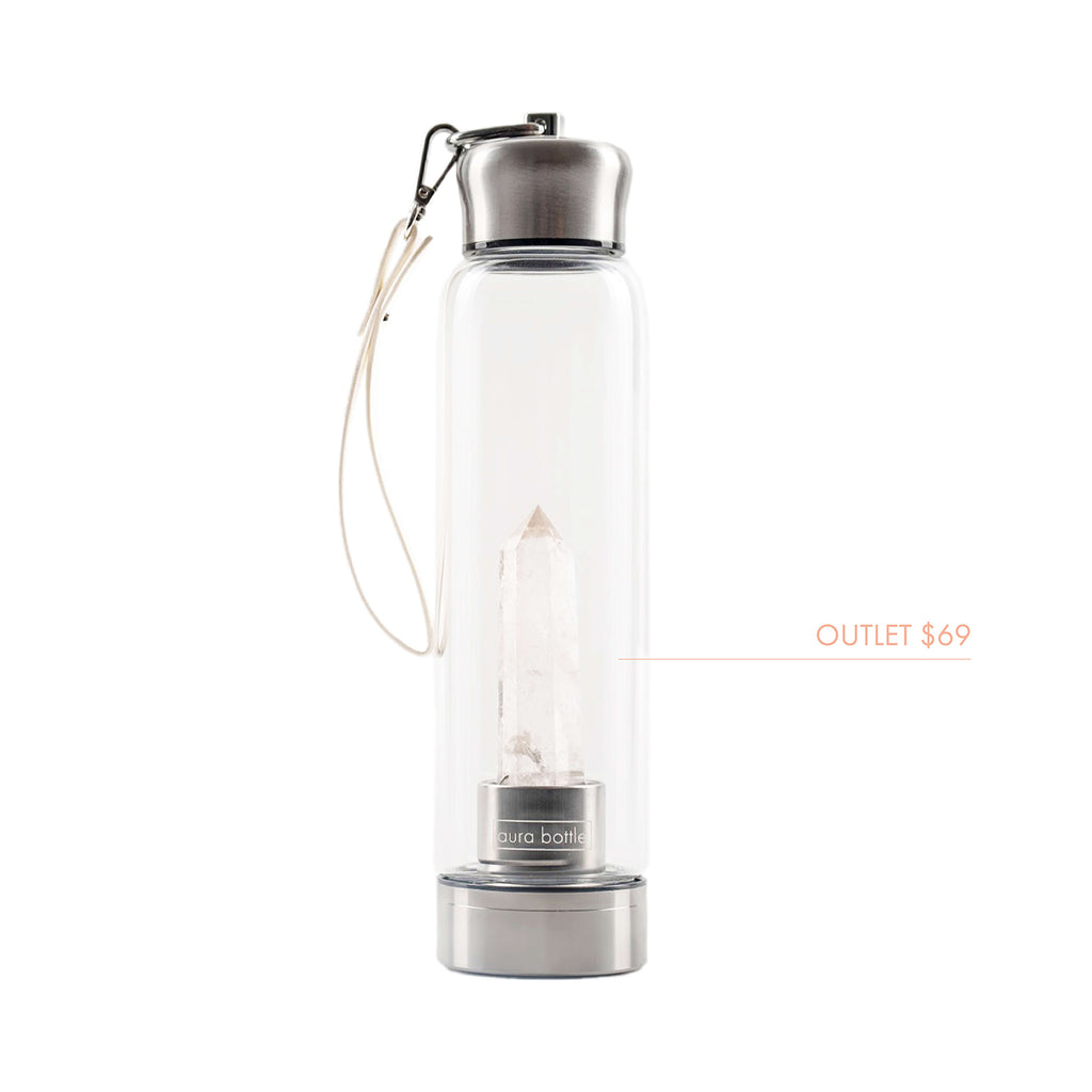OUTLET Clear Quartz Aura Bottle™ | Crystal Infused Water Bottle