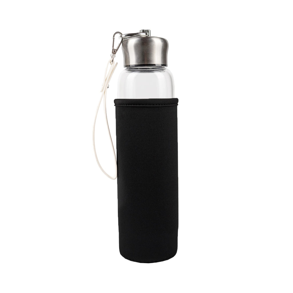 Best amethyst crystal water bottle in Australia. Featuring a glass crystal elixir bottle with straps.