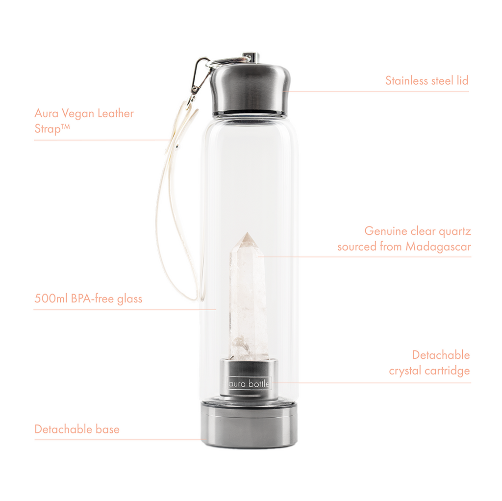 Clear Quartz Crystal Infused Water Bottle | Aura Bottle™ Australia