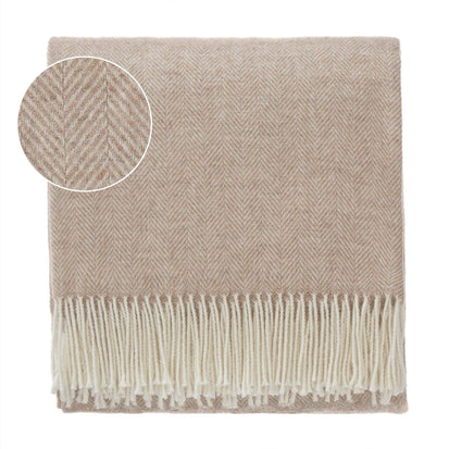 Corcovado Alpaca Blanket light brown & off-white, 50% alpaca wool & 50% merino wool