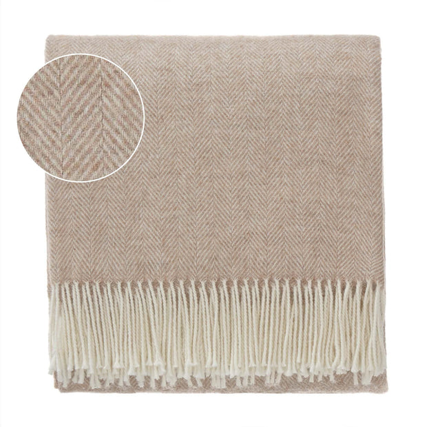 Corcovado blanket, light brown & off-white, 50% alpaca wool & 50% merino wool