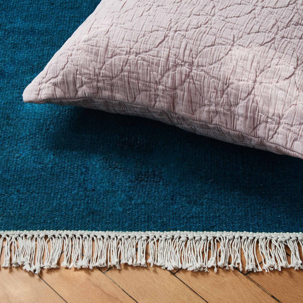 Manu rug, teal, 50% new wool & 50% cotton |High quality homewares