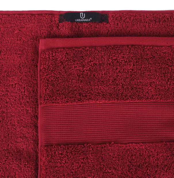Alvito hand towel, dark red, 100% zero twist cotton | URBANARA cotton towels
