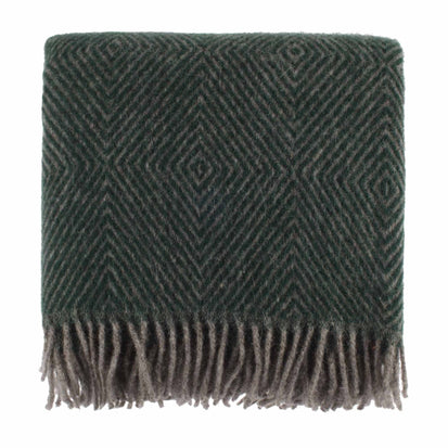 Gotland Dia Wool Blanket green & grey, 100% new wool