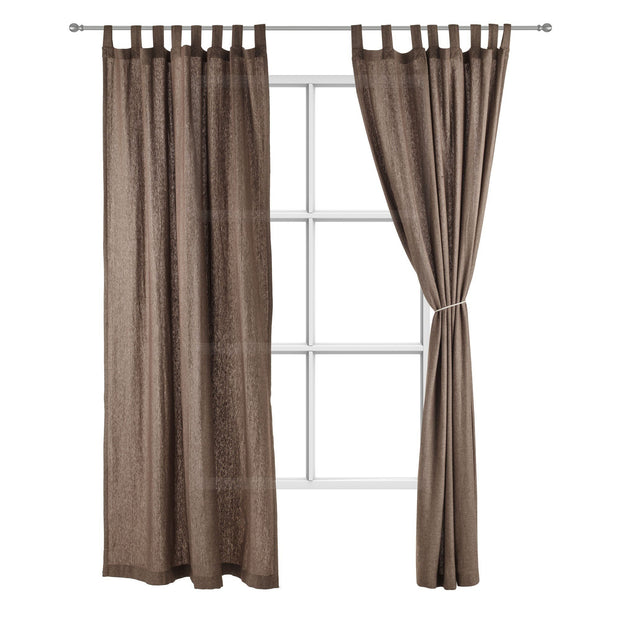 Vinstra curtain, brown & beige, 100% linen