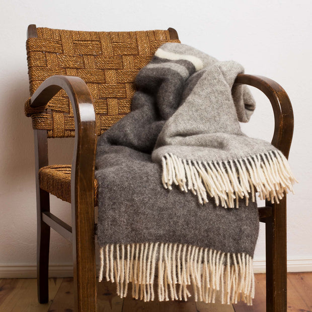 Salakas Wool Blanket brown & grey, 100% new wool | High quality homewares
