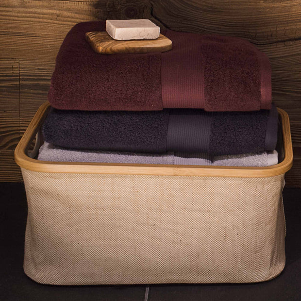 Alvito hand towel, bordeaux red, 100% zero twist cotton | URBANARA cotton towels