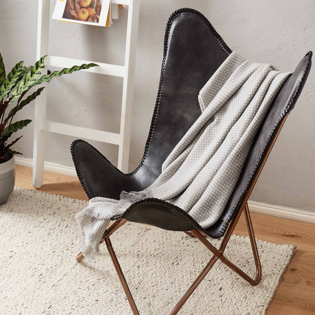 Alashan blanket, light grey & cream, 100% cashmere wool | URBANARA cashmere blankets