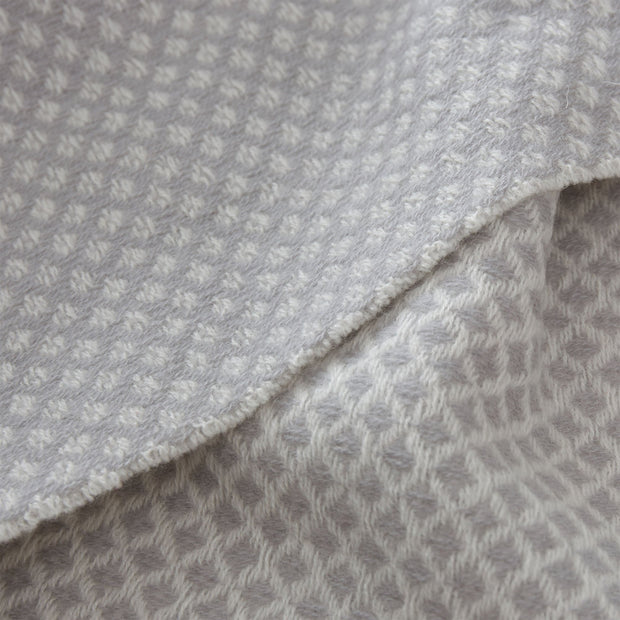 Alashan blanket, light grey & cream, 100% cashmere wool |High quality homewares