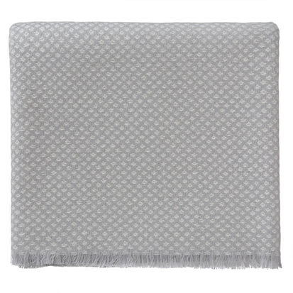 Alashan blanket, light grey & cream, 100% cashmere wool