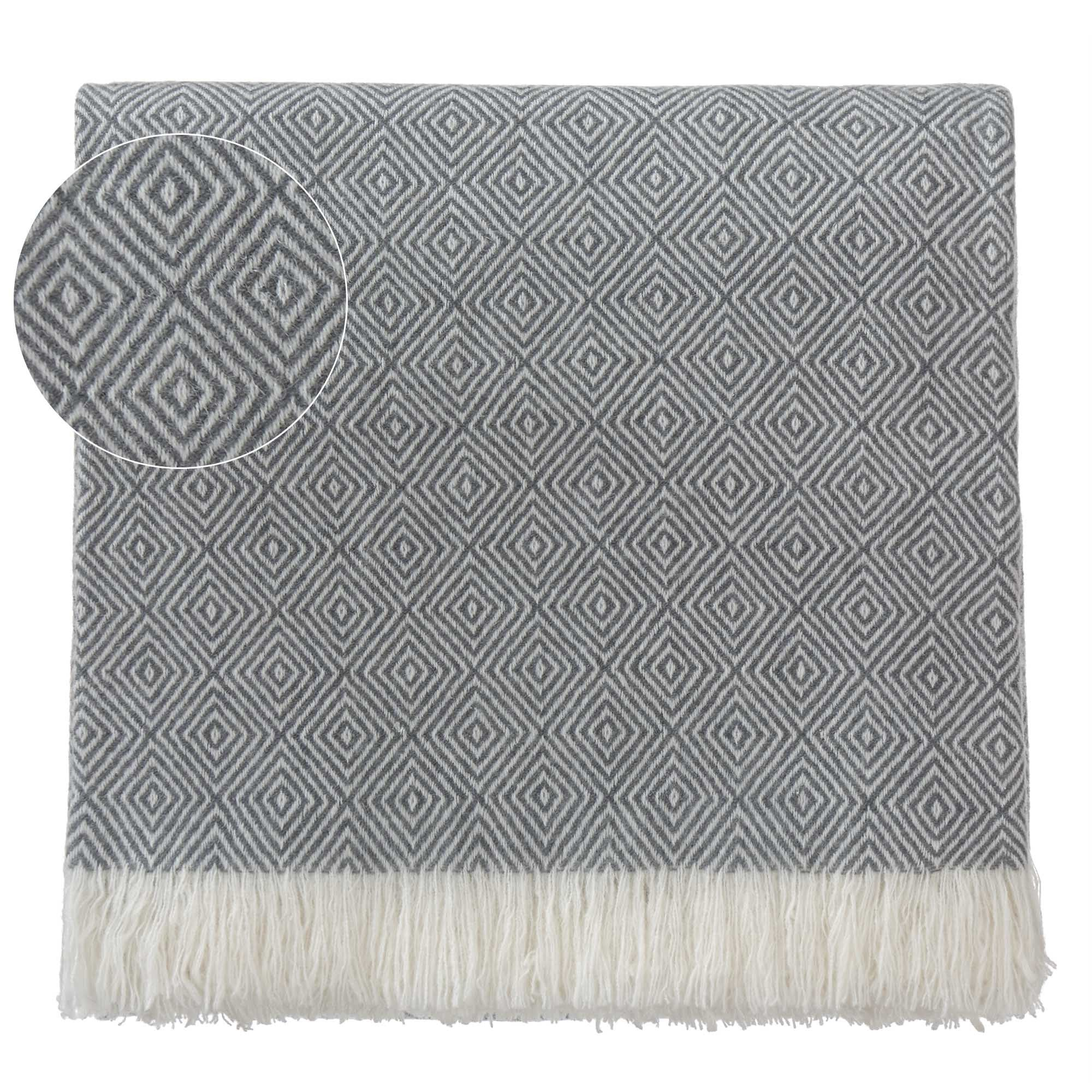 Uyuni blanket, charcoal & cream, 100% cashmere wool