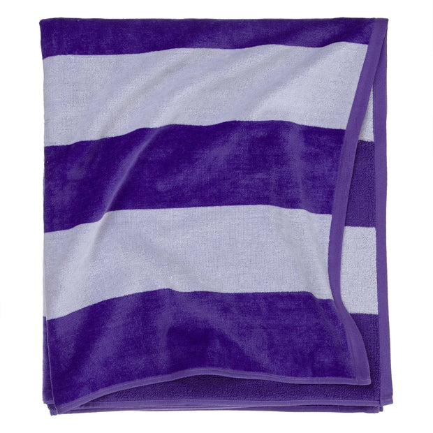 Serena beach towel, purple & white, 100% cotton | URBANARA beach towels