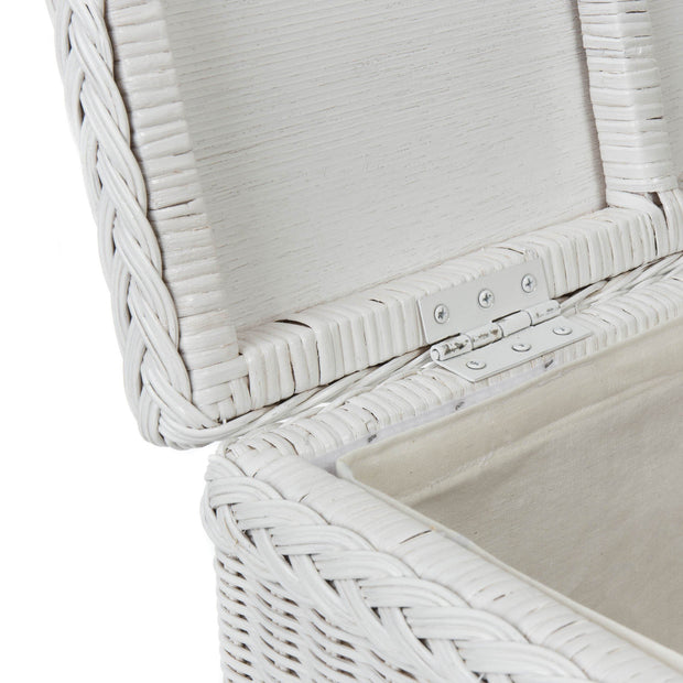 Java laundry basket, painted white, 100% rattan & 100% cotton | URBANARA laundry baskets
