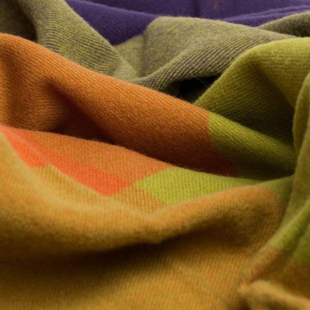 Caracas blanket, dark purple & orange, 100% merino wool |High quality homewares