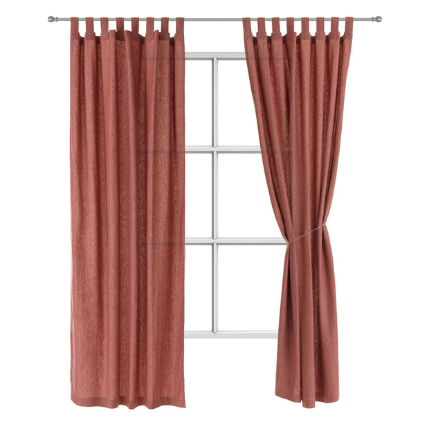 Vinstra curtain, red & beige, 100% linen