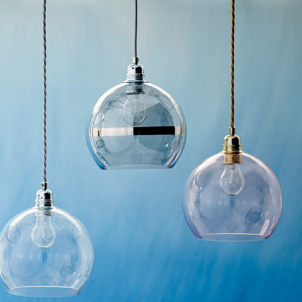 Ribe pendant lamp, transparent & silver, 100% glass & 100% metal |High quality homewares