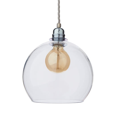 Ribe pendant lamp, transparent & silver, 100% glass & 100% metal