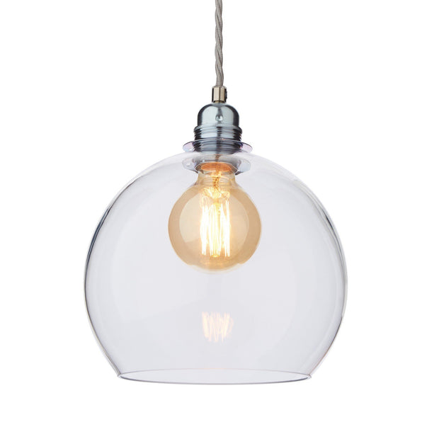 Ribe pendant lamp, transparent & silver, 100% glass & 100% metal | URBANARA pendant lamps