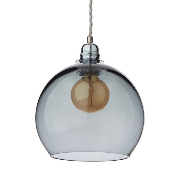 Ribe pendant lamp, grey & silver, 100% glass & 100% metal