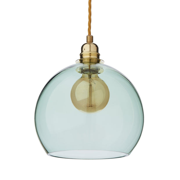 Ribe pendant lamp, light green & brass, 100% glass & 100% metal