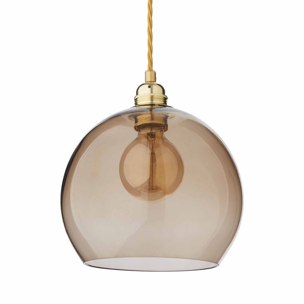 Ribe pendant lamp, brown & brass, 100% glass & 100% metal