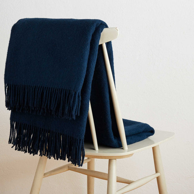 Miramar Wool Blanket in dark blue | Home & Living inspiration | URBANARA