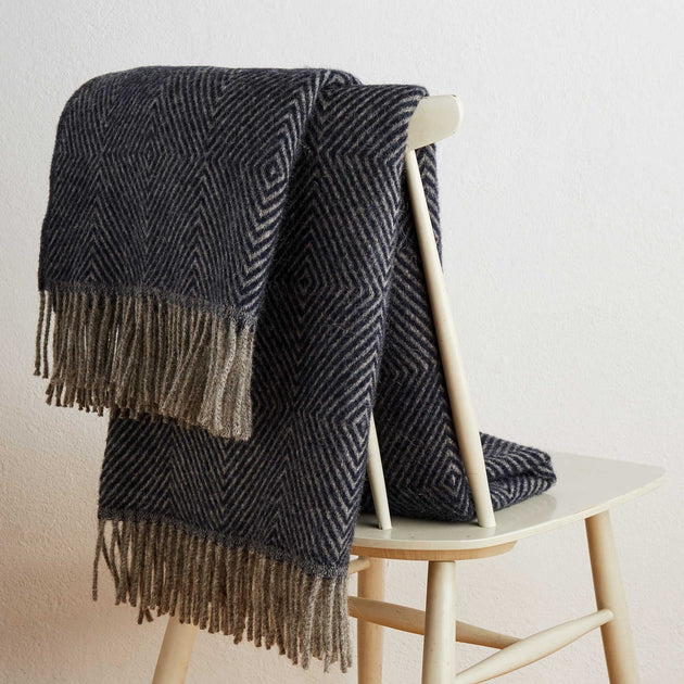 Gotland Dia Wool Blanket in dark blue & grey | Home & Living inspiration | URBANARA