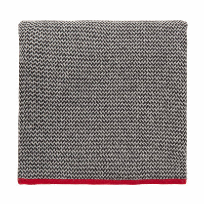 Foligno blanket, black & cream & red, 100% cashmere wool
