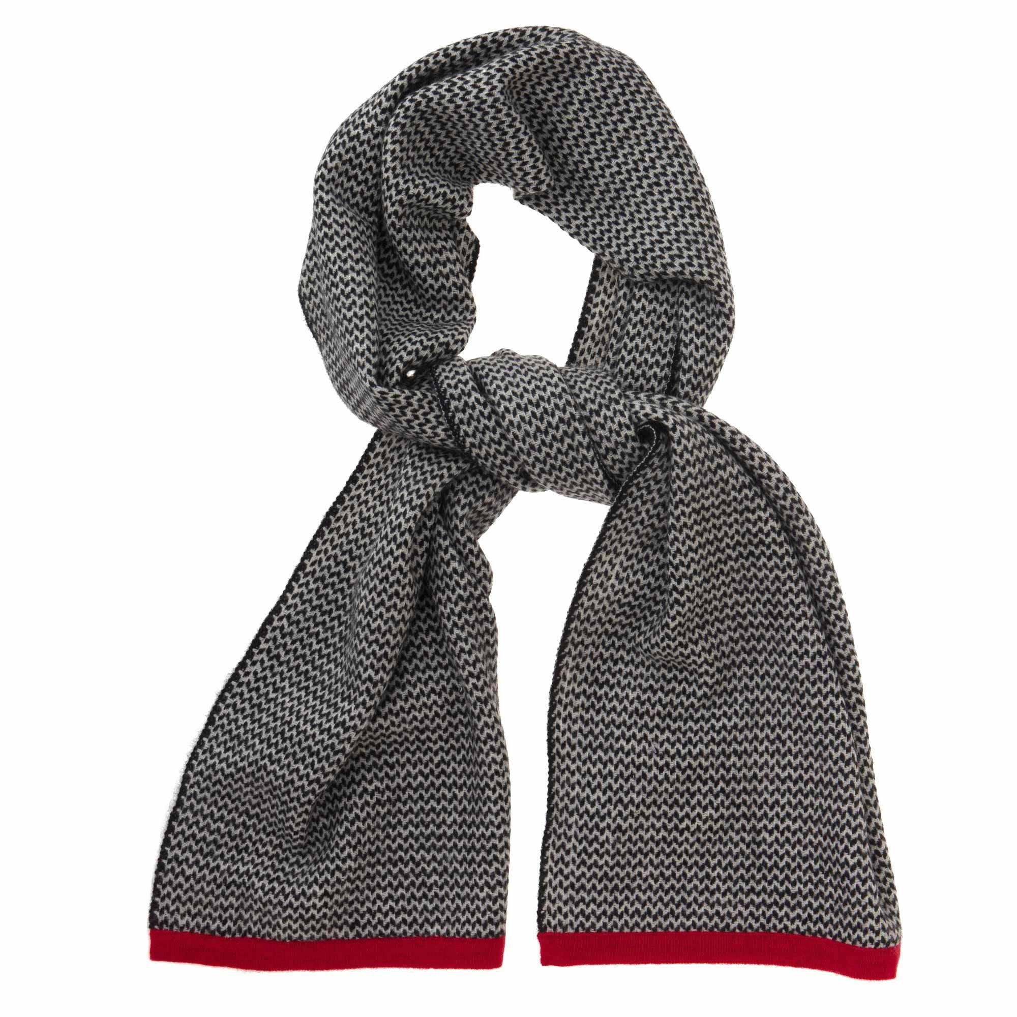 Foligno scarf, black & cream & red, 100% cashmere wool