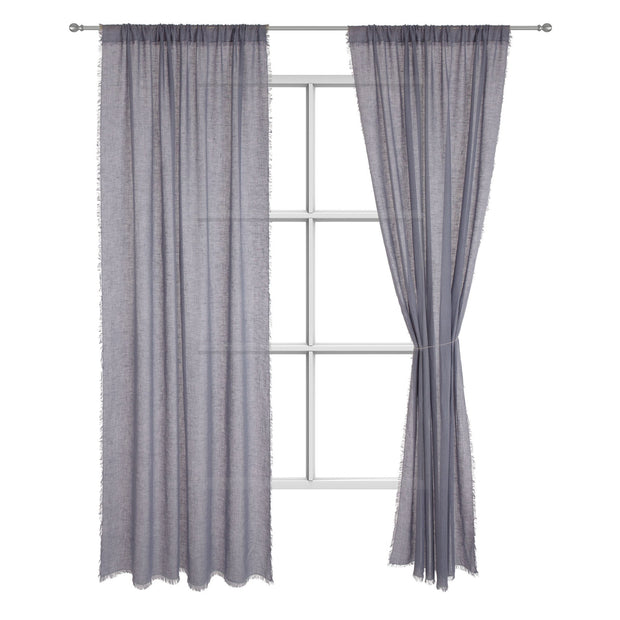 Kiruna curtain, blue grey, 100% linen
