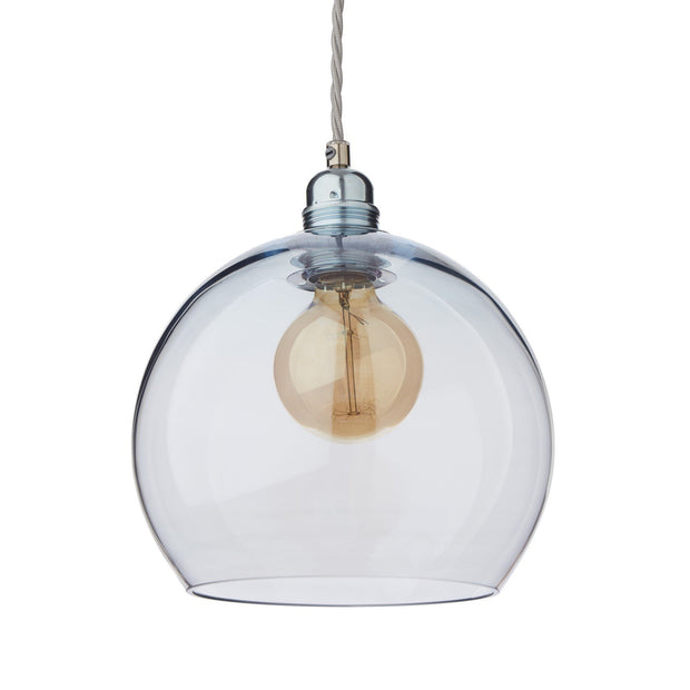 Ribe pendant lamp, light blue & silver, 100% glass & 100% metal