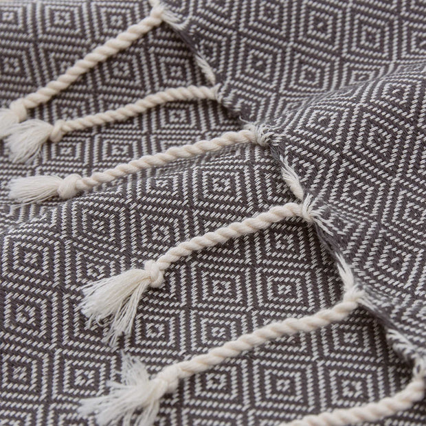 Cesme Hammam Towel grey & white, 100% cotton | URBANARA hammam towels