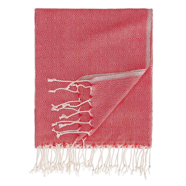 Cesme hammam towel, dark red & white, 100% cotton