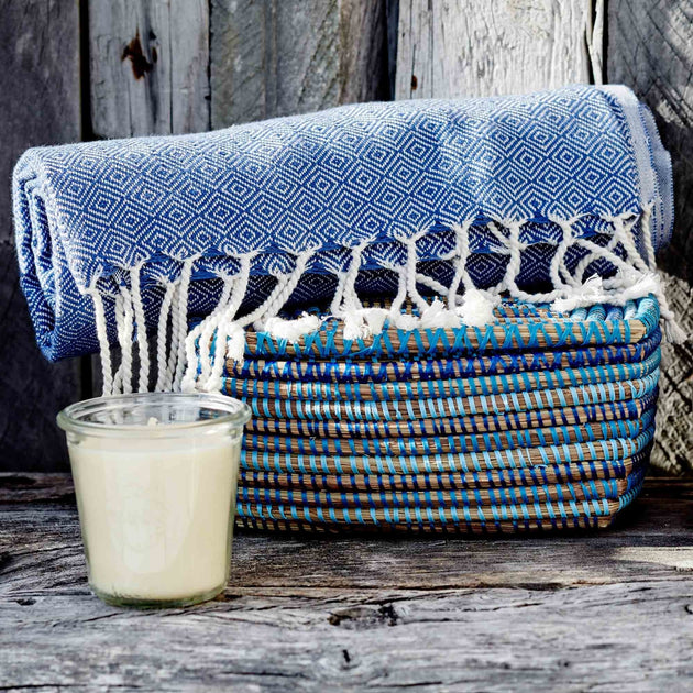 Cesme Hammam Towel in blue & white | Home & Living inspiration | URBANARA