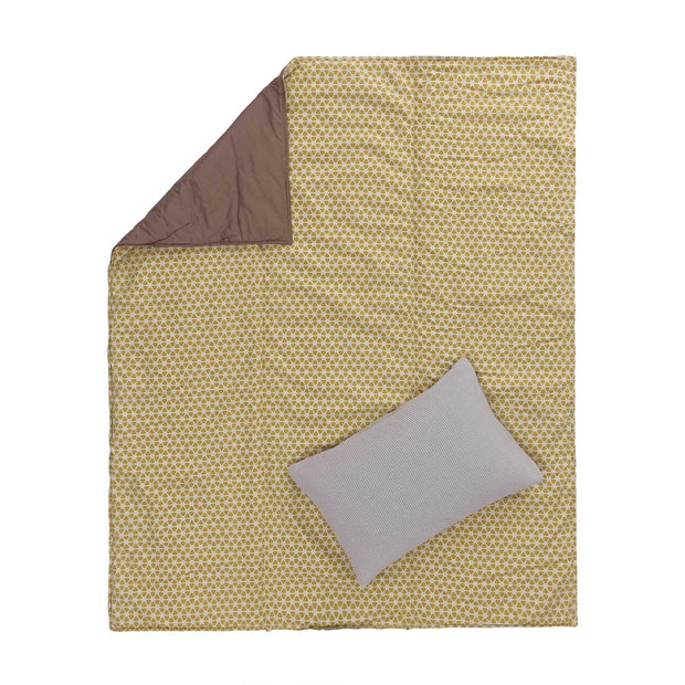 Saldanha Picnic Blanket mustard & natural & brown, 75% cotton & 25% linen