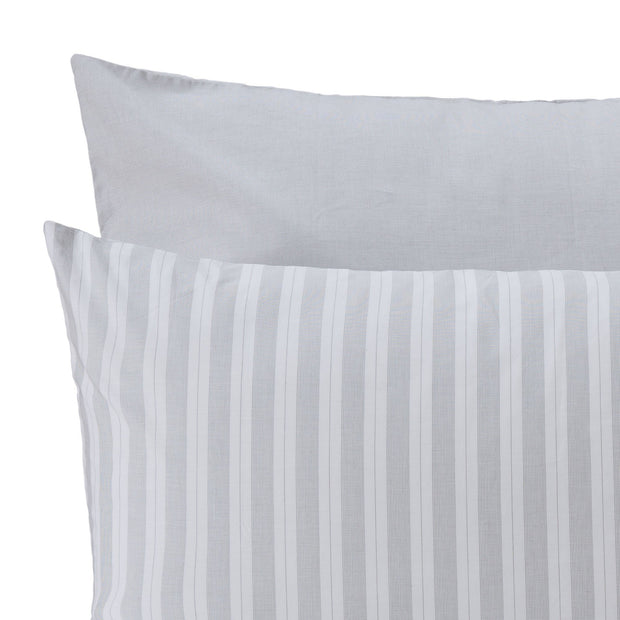 Izeda duvet cover, light grey & white, 100% cotton | URBANARA percale bedding