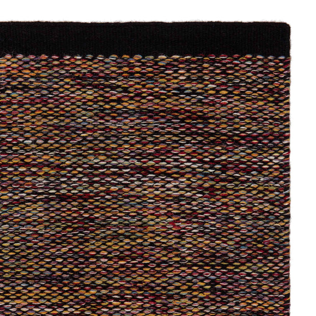 Odis rug, multicolour & black, 87% new wool & 9% cotton & 4% polyester