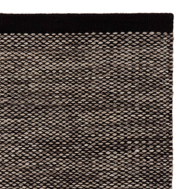 Odis rug, grey brown & off-white & black, 87% new wool & 9% cotton & 4% polyester