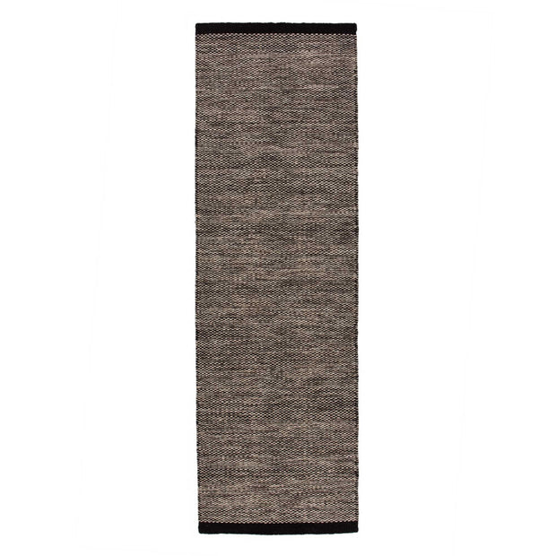 Odis runner, grey brown & off-white & black, 87% new wool & 9% cotton & 4% polyester | URBANARA runners