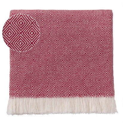 Uyuni blanket, bordeaux red & cream, 100% cashmere wool