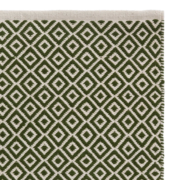 Tenali rug, olive green & off-white, 100% cotton