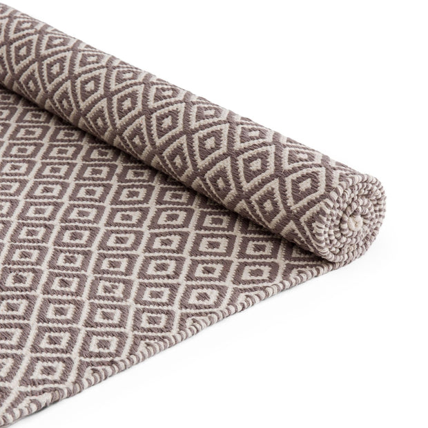 Tenali runner, grey & off-white, 100% cotton |High quality homewares