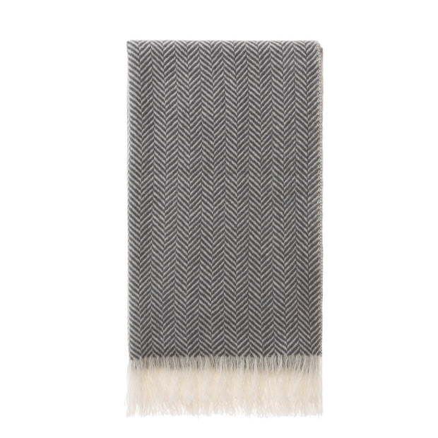 Nerva Cashmere Scarf charcoal & cream, 100% cashmere wool & wool | High quality homewares