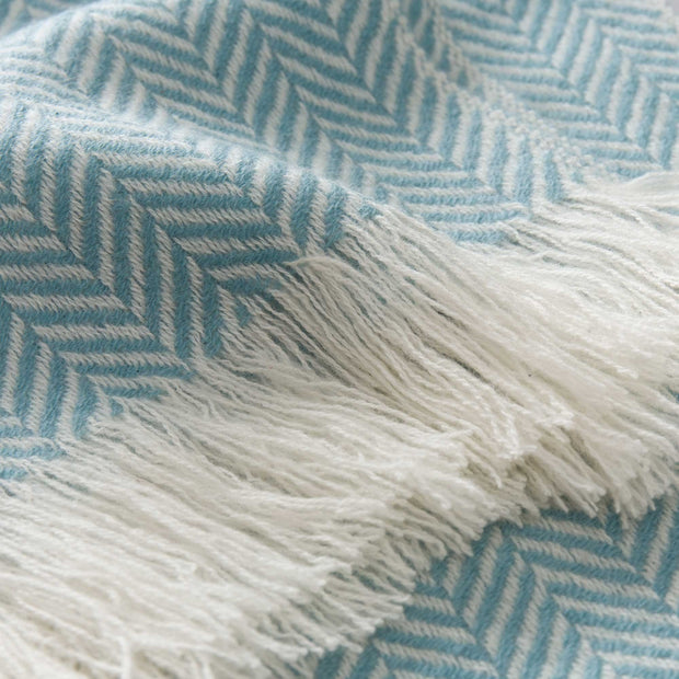 Nerva scarf, mint & cream, 100% cashmere wool |High quality homewares