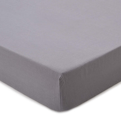 Toulon fitted sheet, charcoal, 100% linen