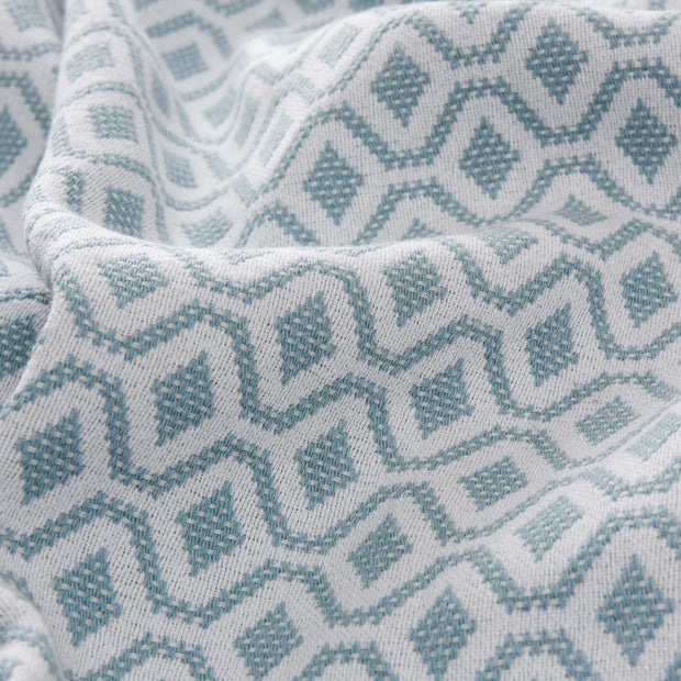 Viana bedspread, grey green & white, 100% cotton | URBANARA bedspreads & quilts